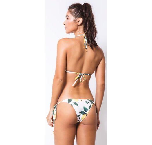 White side-tie Brazilian bikini in lemon print - CORTININHA LIMOEIRO