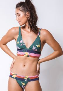 Retro style green bikini in stripes and lemon print - PALA LIMONCELLO