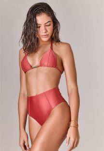 Coral high-waist bikini with stitching - ADRIANA TOMETTE