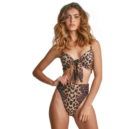 High-leg bikini with balconette top - leopard - BIKINI ONÇA