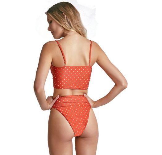 High-waist high-leg orange bikini in polka dots - BOLINHAS BRANCAS