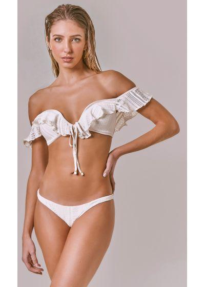 Schulterfreier Spitzen-Bikini mit Volants - CAPRI OFF WHITE RENDA