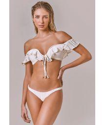Ruffled off-the-shoulder bikini in ecru lace - CAPRI OFF WHITE RENDA
