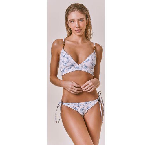 White longline bra bikini with blue arabesques - FLORENCE ARABESQUE