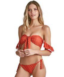 Bikini bandeau orange à pois et manches - LIVIA POIS
