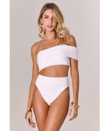White asymmetric one-shoulder high-waisted bikini - OFF SHOULDER BRANCO