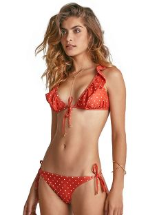 Bikini triangle orange à pois et volants - STAR POIS