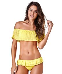 Luxury linen bandeau bikini with winged sleeves - BOBBI PIU PIU