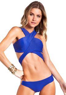 Original blå bikini med tekstureret materiale og krydset ryg - COOL BIC