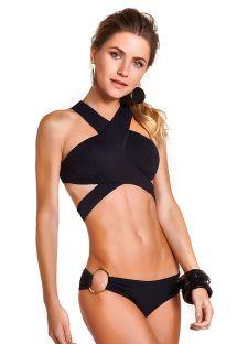 Getextureerde zwarte bikini, gekruist op rug - COOL PRETO