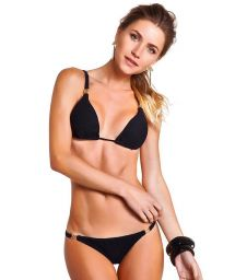 Black textured triangle bikini with golden details - JACQUARD PRETO