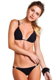 Bikini triangle noir texturé détails dorés - JACQUARD PRETO