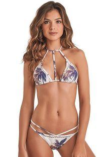 Brasiliansk bikini med pyntestropper og palmetræsmønster - STRAP COQUEIRO