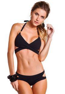 Sort bikini-top med krydset detalje og sort bikinitrusse med udskæring - WRAP PRETO