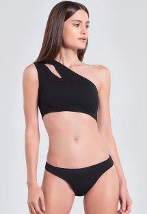 Zwarte asymmetrische crop top bikini met uitsparing - CREPE LUA PRETO