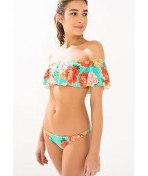 Flower print, off the shoulder bandeau bikini top - BABADO FLORAL