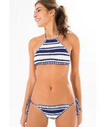 Two-tone blue/white crochet crop top bikini - CORDEL AZUL