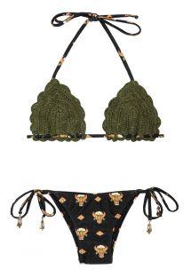 Bikini triangular a crochet color caqui con parte baja estampada - GUADALAJARA