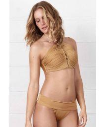 Golden crop top bikini with straps and macrame - FRENTE ÚNICA DOURADO BEACHCRAFT