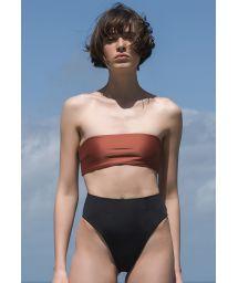Mocca bandeau bikini with high leg black bottom - BIKINI MARCELLA MOCCA PRETO