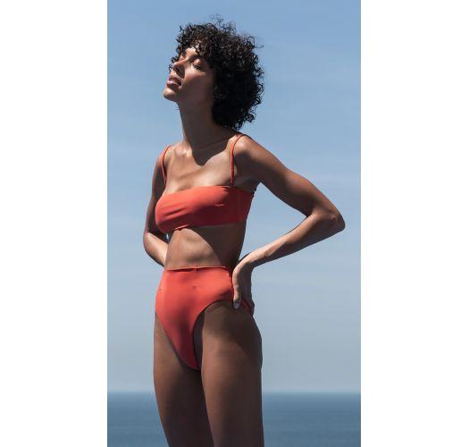 High-Waist-Bikini, Bandeau-Top dunkelorange - BIKINI MARCELLA POR DO SOL