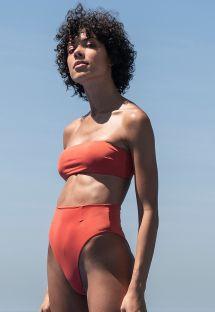 Dark orange high-waisted bandeau bikini - BIKINI MARCELLA POR DO SOL
