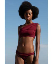 Burgundroter asymmetrischer Crop-Top-Bikini - BIKINI MARIA GRENAT