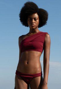Asymmetrisk avskjært bikini burgunderfarget luksus - BIKINI MARIA GRENAT