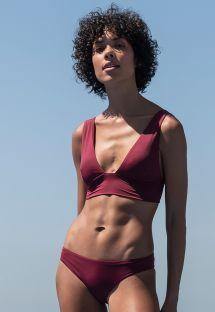 BH-bikini i burgunderfarget med stropper i flere posisjoner - BIKINI MULTI ALÇAS GRENAT