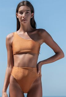 High waist copper bikini with asymmetric crop top - BIKINI PERLIN COBRE