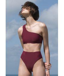 Luxurious asymmetric burgundy high leg  bikini - BIKINI PERLIN GRENAT