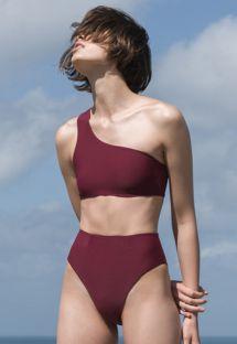 Bikini med høy størrelse burgunderfarget og avskjært asymmetrisk topp - BIKINI PERLIN GRENAT