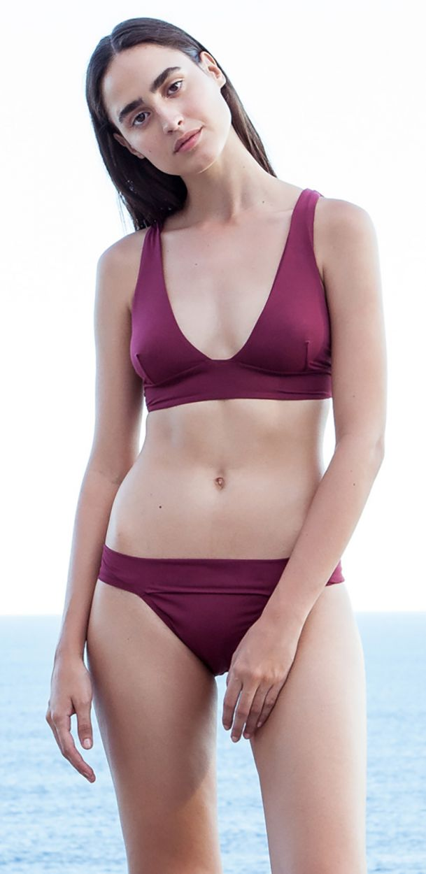 Granatroter Luxus-Bustier-Bikini - BIKINI V GRENAT