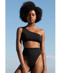 Luxurious asymmetric black high leg  bikini - CREPE PERLIN BIKINI PRETO