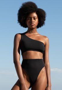 Bikini asimmetrico sgambato di lusso nero - CREPE PERLIN BIKINI PRETO