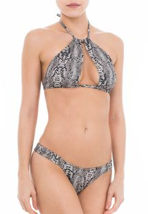Bi-material crop top bikini in a gray animal print - SERPENTE