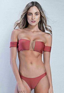 Bi-material bandeau bikini with low rise bottom - terracotta - TULE CAMEL