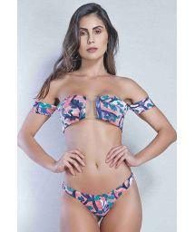 Bi-material bandeau bikini with string bottom and a print - TULE PINCEL