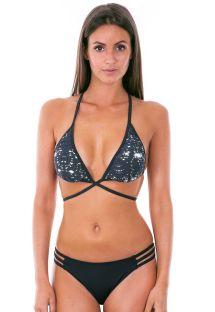Crni trokut bikini s višestrukim ukrštenim remenjem - STARS BLACK