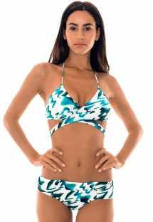 Two-tone bikini with criss-cross top - ABSTRATO CRUSADO