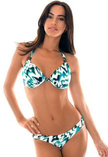 Printed triangle bikini with underwire halterneck top - ABSTRATO TURBINADO