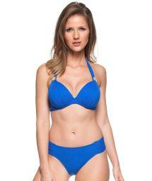 Blue hard padded halter bikini with underwire - AGUAS AZULADAS
