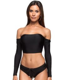 Black long sleeved crop-top bikini - AGUAS DO MAR