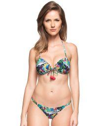 Multicoloured Cuba-print push-up bikini with tassels - AGUAS PURAS