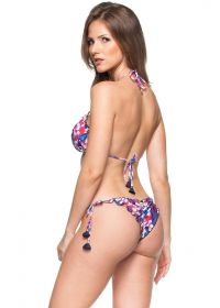 Pink and blue floral scrunch bikini with tassels - AGUAS TRANSPARENTES