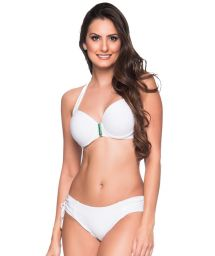 Vit balconette-bikini med byglar och accessoarer - ALÇA BRANCO