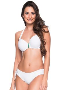 Accessorized white balconette bikini with underwire - ALÇA BRANCO