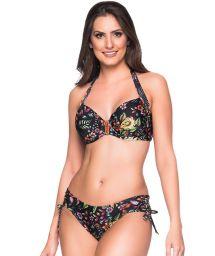 Accessorized black balconette bikini with flowers - ALÇA DREAM