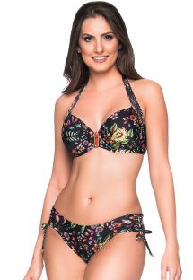 Accessorized black balconette bikini with flowers - ALÇA DREAM