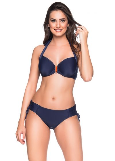 Marineblauer Balconette-Bikini mit Accessoire - ALÇA MIRAMAR